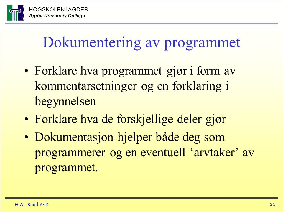 Dokumentering av programmet