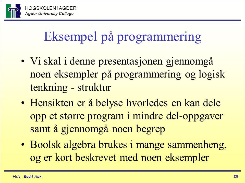 Eksempel på programmering