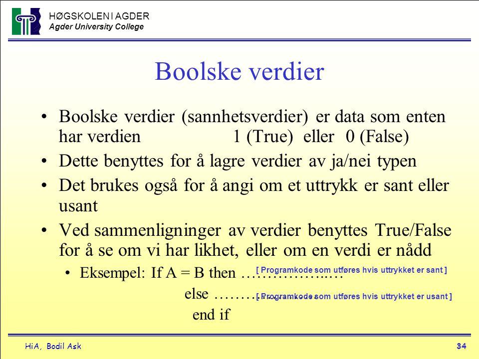 Boolske verdier Boolske verdier (sannhetsverdier) er data som enten har verdien 1 (True) eller 0 (False)