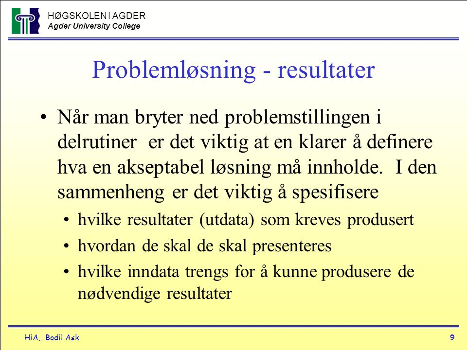 Problemløsning - resultater