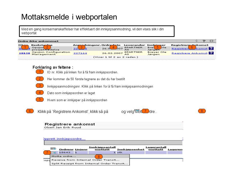 Mottaksmelde i webportalen