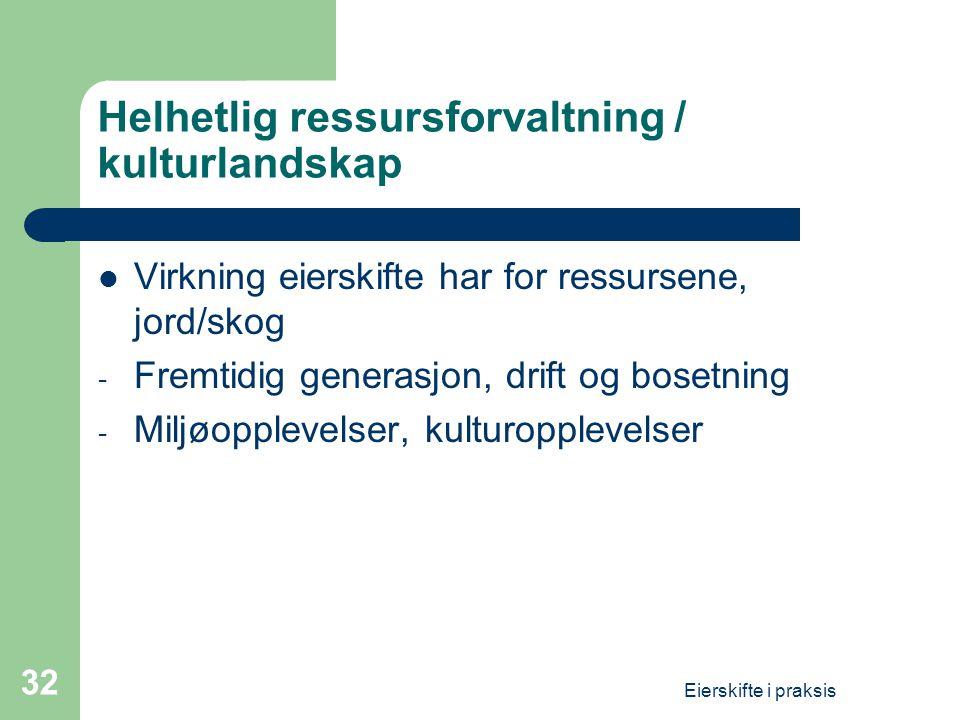 Helhetlig ressursforvaltning / kulturlandskap