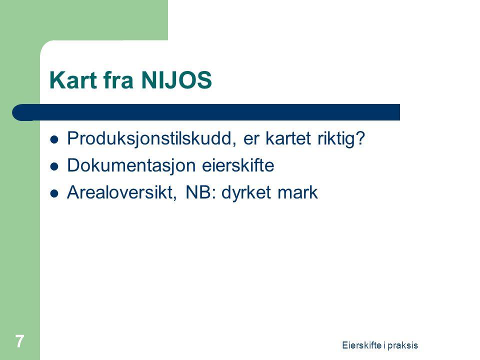 Kart fra NIJOS Produksjonstilskudd, er kartet riktig