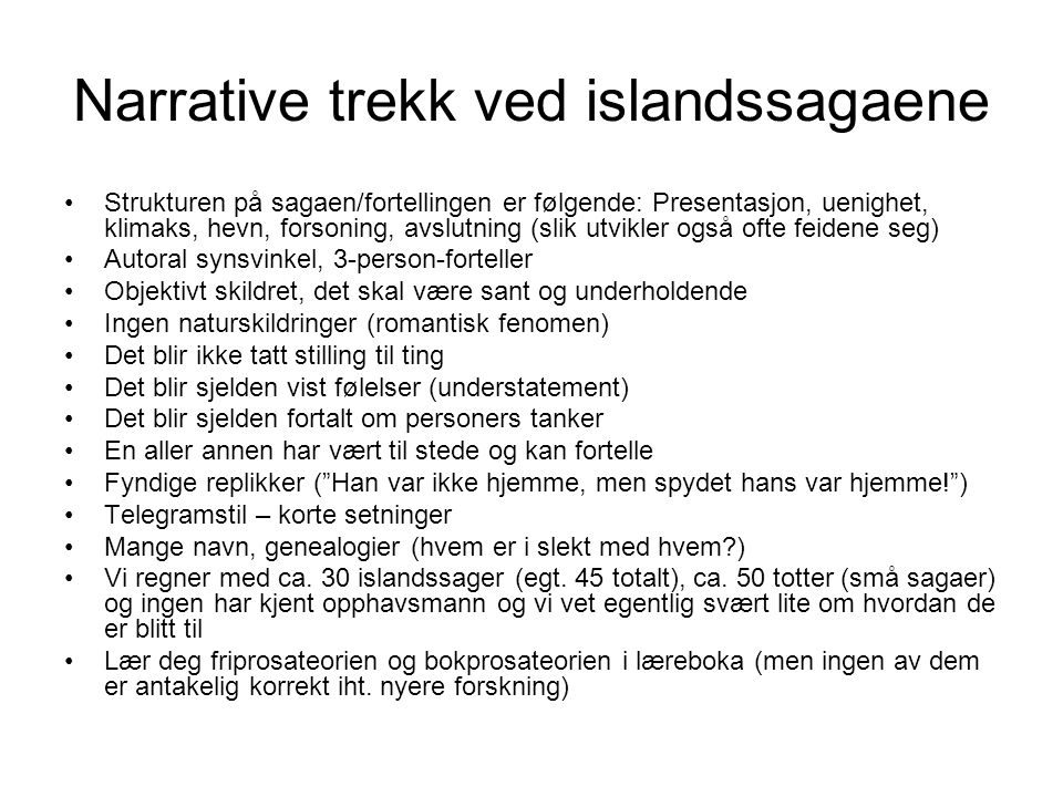 Narrative trekk ved islandssagaene