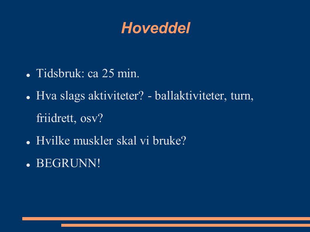 Hoveddel Tidsbruk: ca 25 min.