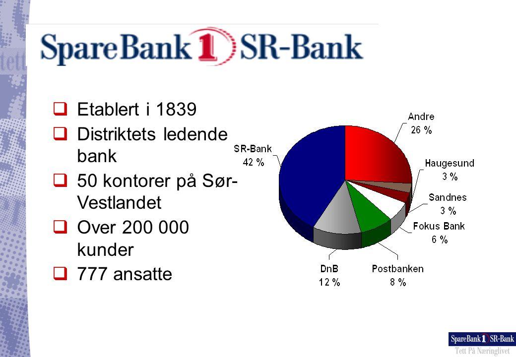 Etablert i 1839 Distriktets ledende bank. 50 kontorer på Sør-Vestlandet.