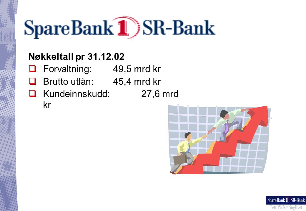 Nøkkeltall pr 31.12.02 Forvaltning: 49,5 mrd kr. Brutto utlån: 45,4 mrd kr.