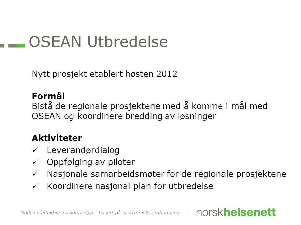 OSEAN Utbredelse Nytt prosjekt etablert høsten 2012