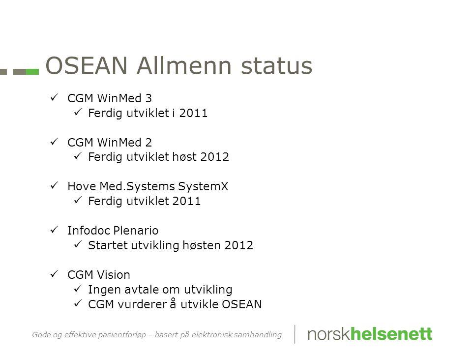 OSEAN Allmenn status CGM WinMed 3 Ferdig utviklet i 2011 CGM WinMed 2