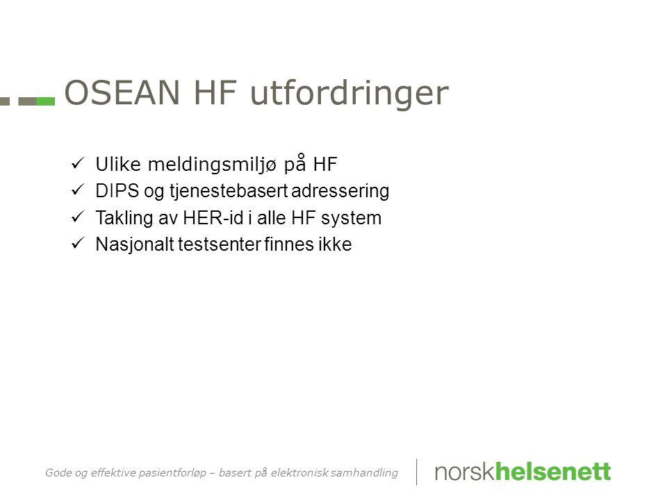 OSEAN HF utfordringer Ulike meldingsmiljø på HF