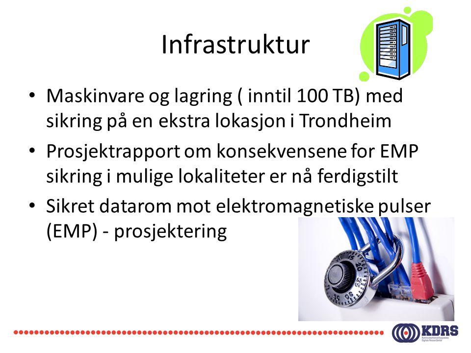 Infrastruktur Maskinvare og lagring ( inntil 100 TB) med sikring på en ekstra lokasjon i Trondheim.