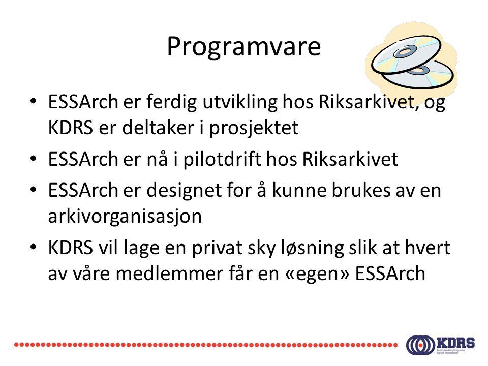Programvare ESSArch er ferdig utvikling hos Riksarkivet, og KDRS er deltaker i prosjektet. ESSArch er nå i pilotdrift hos Riksarkivet.