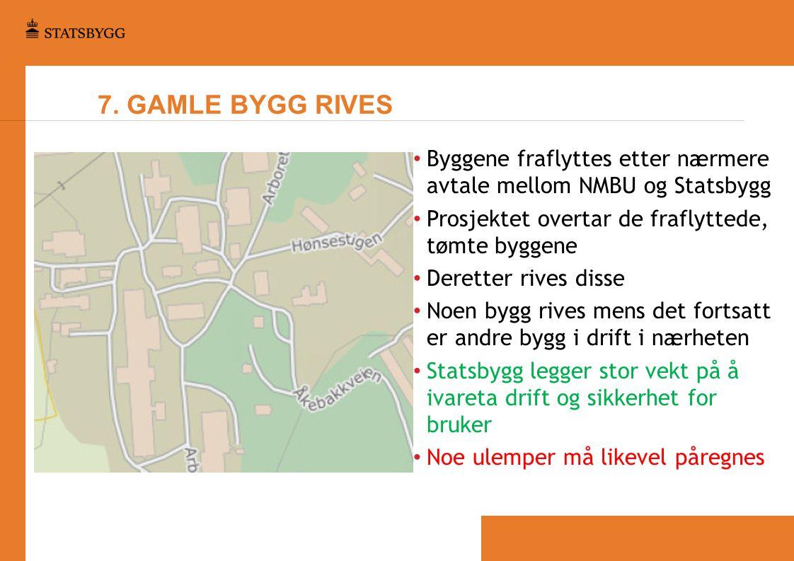 7. GAMLE BYGG RIVES Byggene fraflyttes etter nærmere avtale mellom NMBU og Statsbygg. Prosjektet overtar de fraflyttede, tømte byggene.