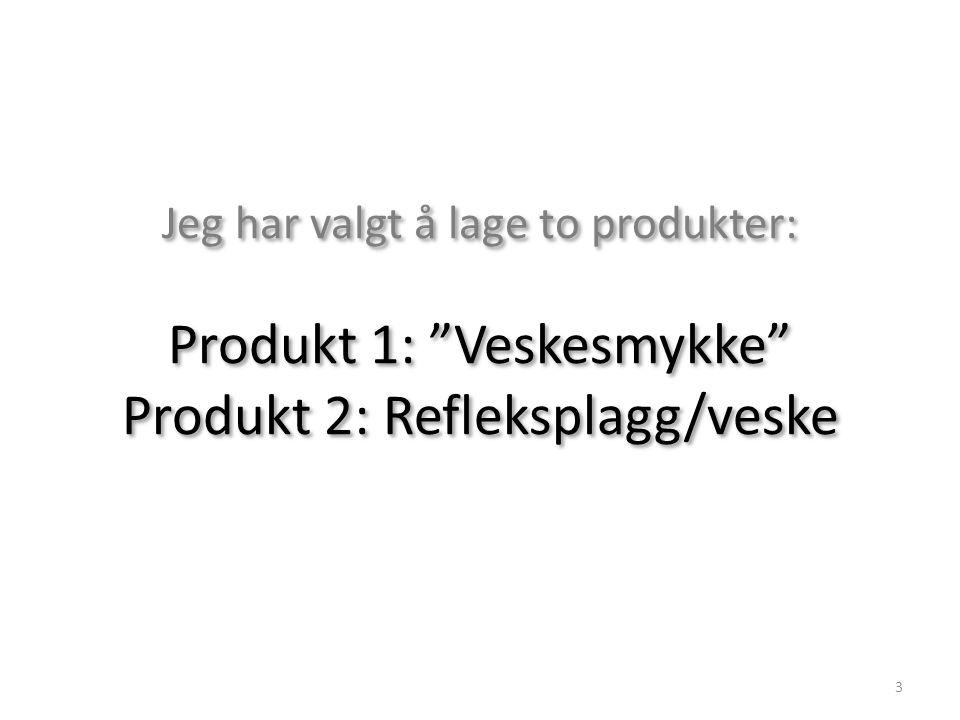 Jeg har valgt å lage to produkter: Produkt 1: Veskesmykke Produkt 2: Refleksplagg/veske