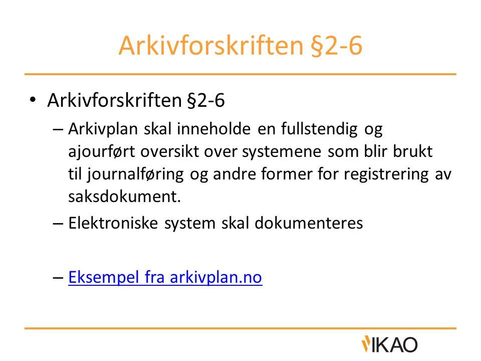 Arkivforskriften §2-6 Arkivforskriften §2-6