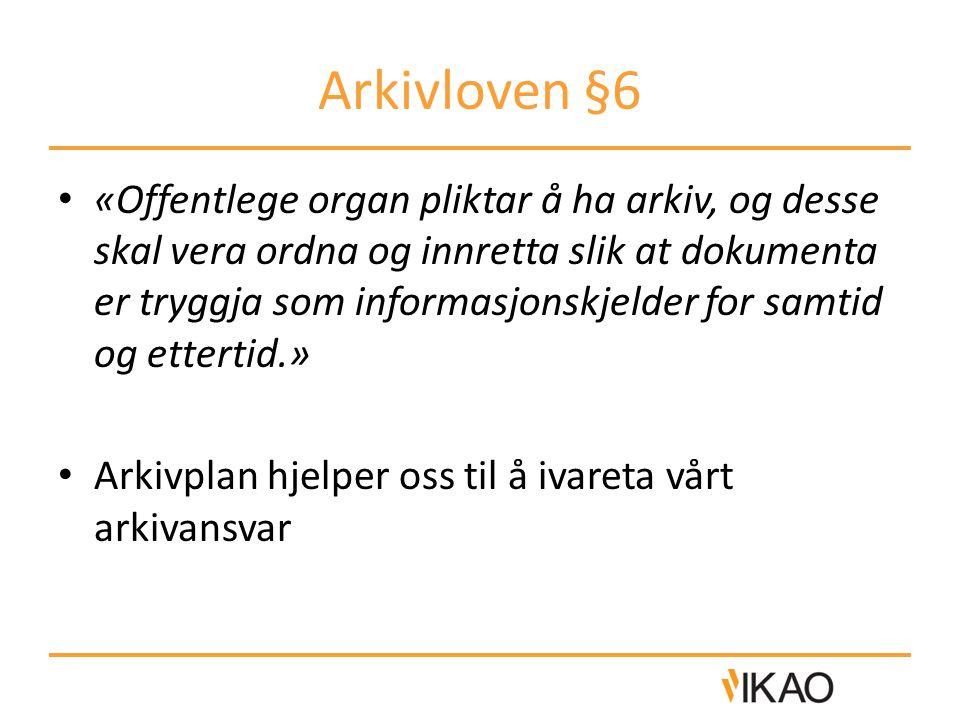 Arkivloven §6