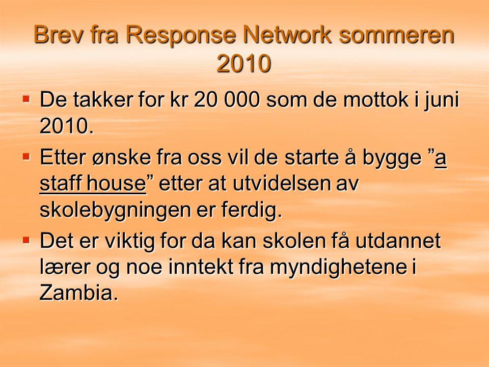 Brev fra Response Network sommeren 2010