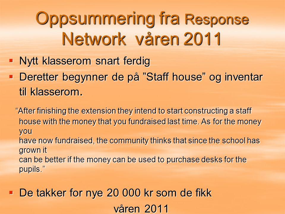 Oppsummering fra Response Network våren 2011