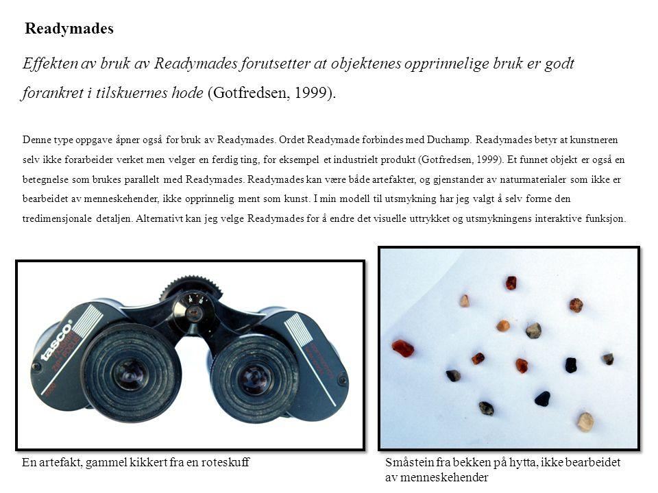 Readymades Effekten av bruk av Readymades forutsetter at objektenes opprinnelige bruk er godt forankret i tilskuernes hode (Gotfredsen, 1999).