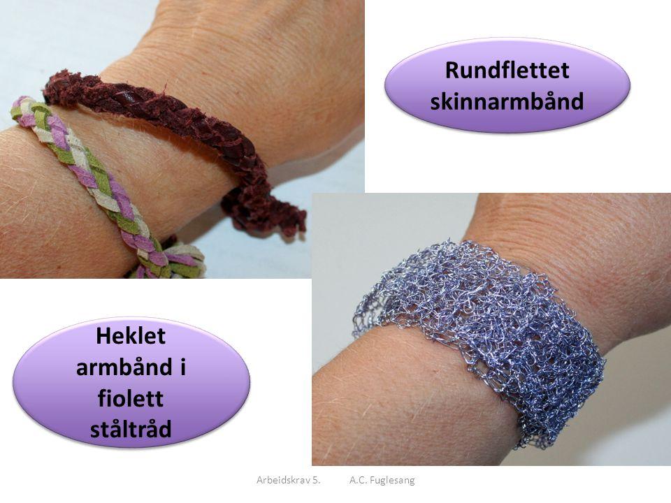 Rundflettet skinnarmbånd Heklet armbånd i fiolett ståltråd