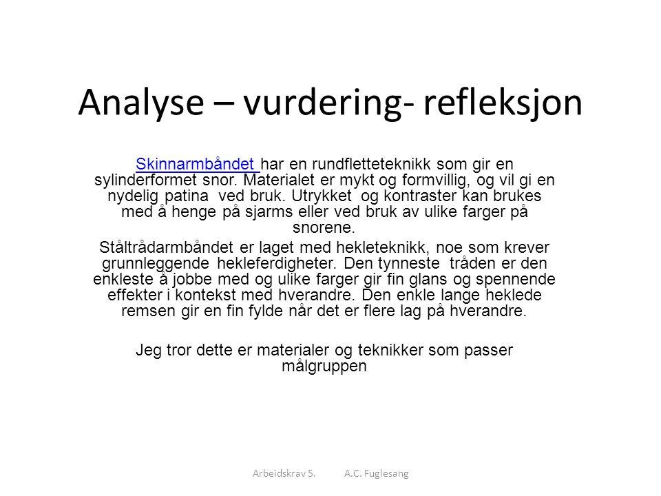 Analyse – vurdering- refleksjon