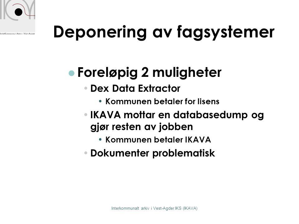 Deponering av fagsystemer