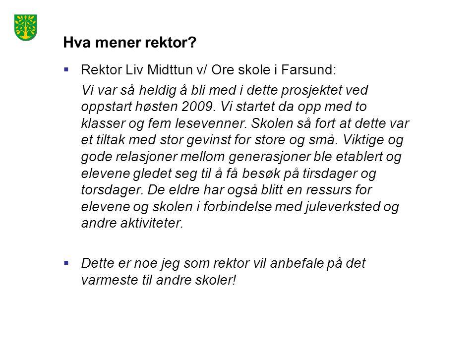 Hva mener rektor Rektor Liv Midttun v/ Ore skole i Farsund: