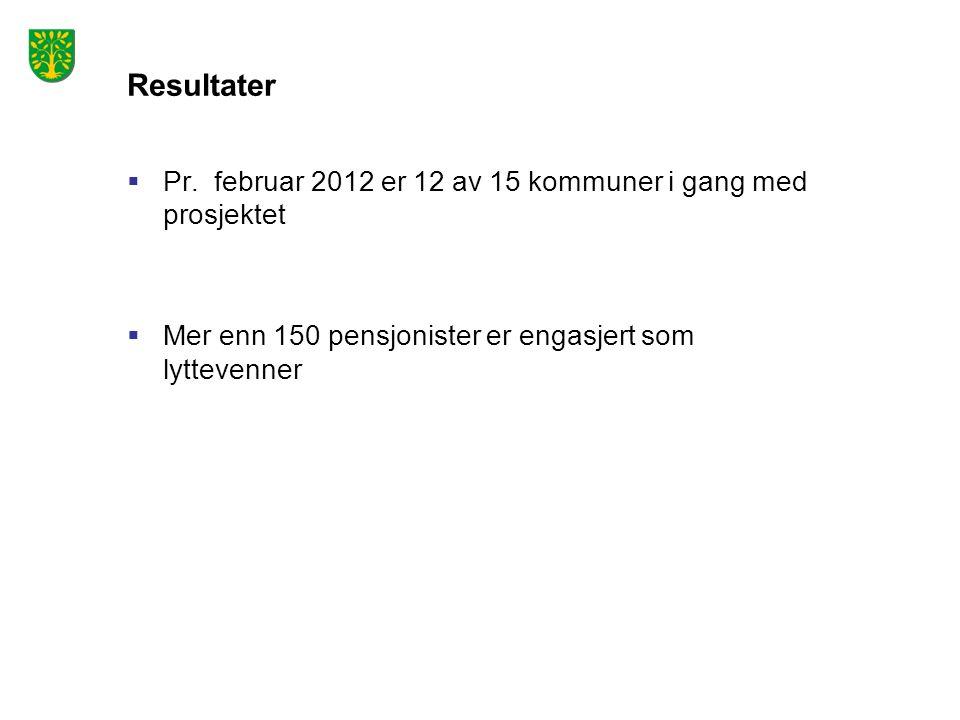 Resultater Pr. februar 2012 er 12 av 15 kommuner i gang med prosjektet