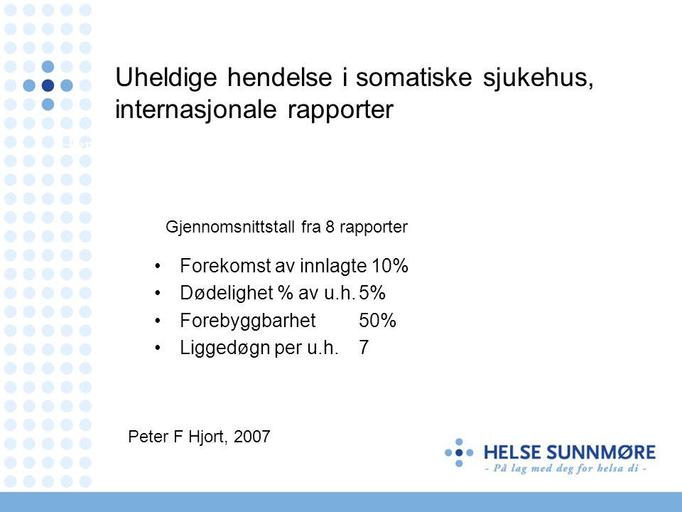Uheldige hendelse i somatiske sjukehus, internasjonale rapporter
