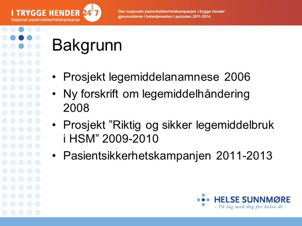 Bakgrunn Prosjekt legemiddelanamnese 2006