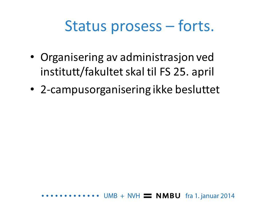 Status prosess – forts. Organisering av administrasjon ved institutt/fakultet skal til FS 25. april.