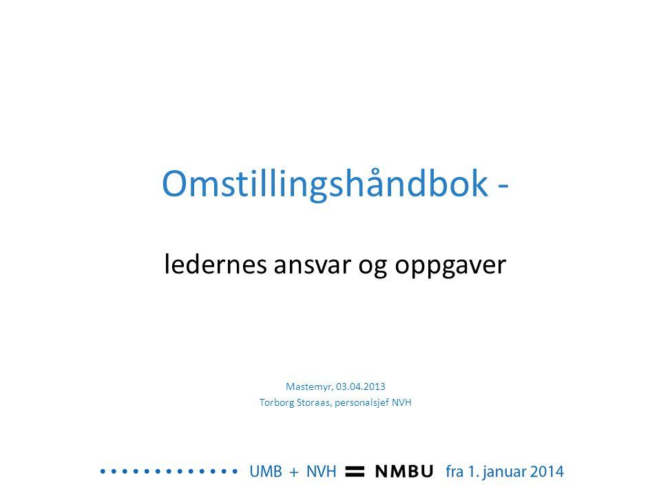 Omstillingshåndbok - ledernes ansvar og oppgaver Mastemyr, 03.04.2013