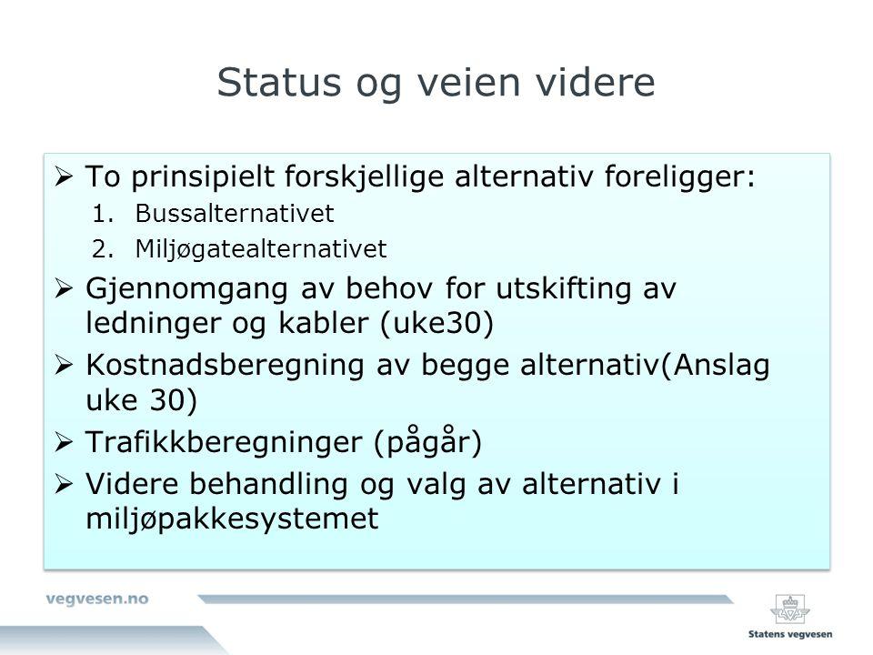 Status og veien videre To prinsipielt forskjellige alternativ foreligger: Bussalternativet. Miljøgatealternativet.