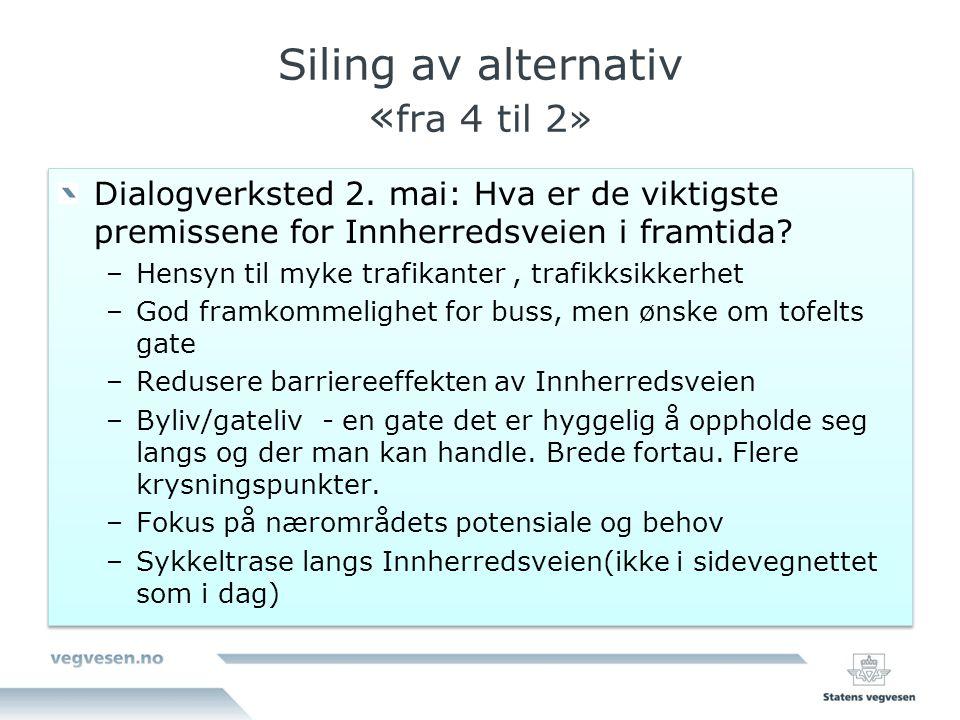 Siling av alternativ «fra 4 til 2»