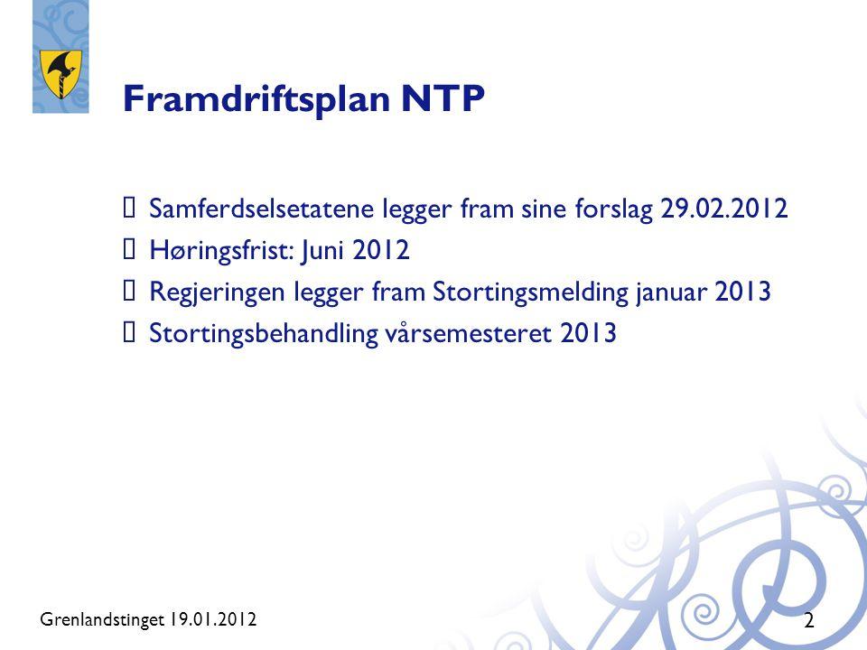 Framdriftsplan NTP Samferdselsetatene legger fram sine forslag 29.02.2012. Høringsfrist: Juni 2012.