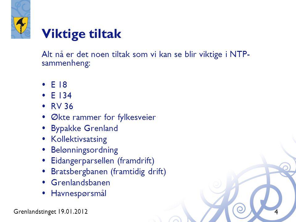 Viktige tiltak Alt nå er det noen tiltak som vi kan se blir viktige i NTP-sammenheng: E 18. E 134.
