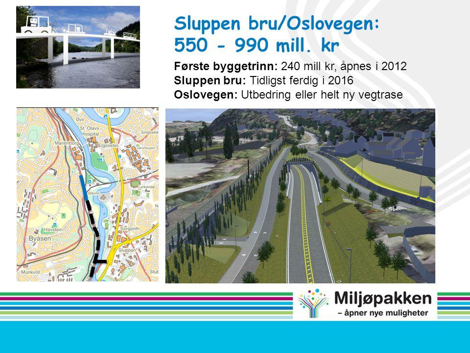Sluppen bru/Oslovegen: 550 - 990 mill. kr
