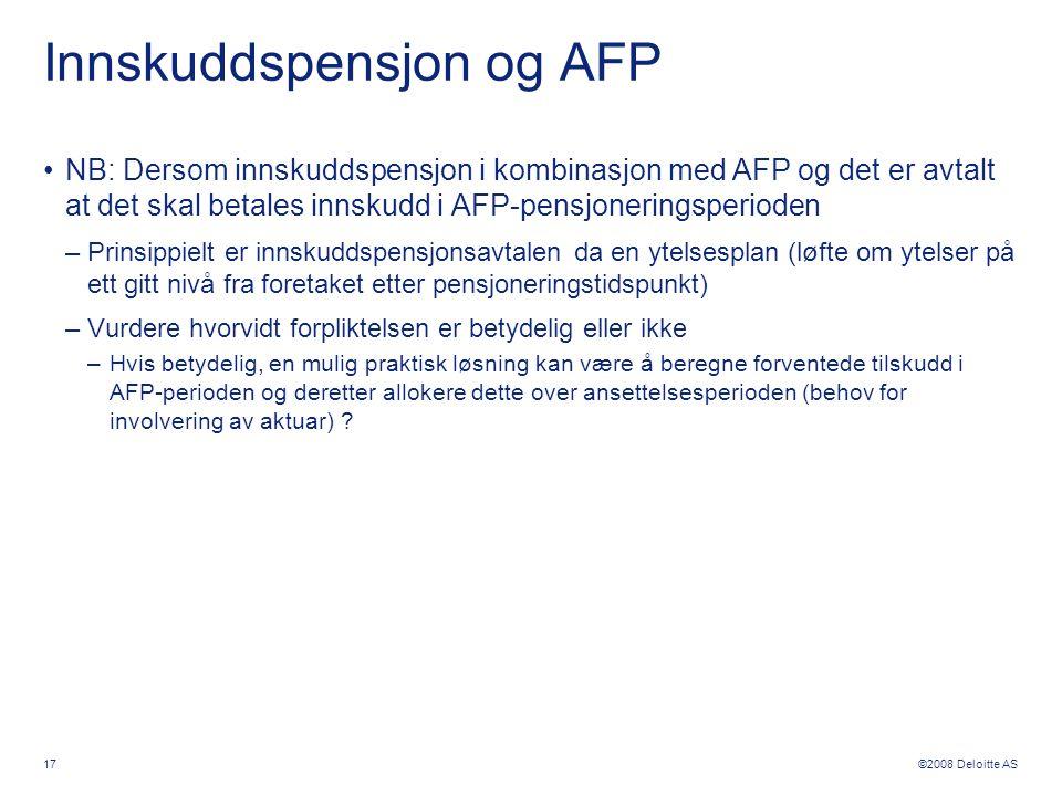 Innskuddspensjon og AFP