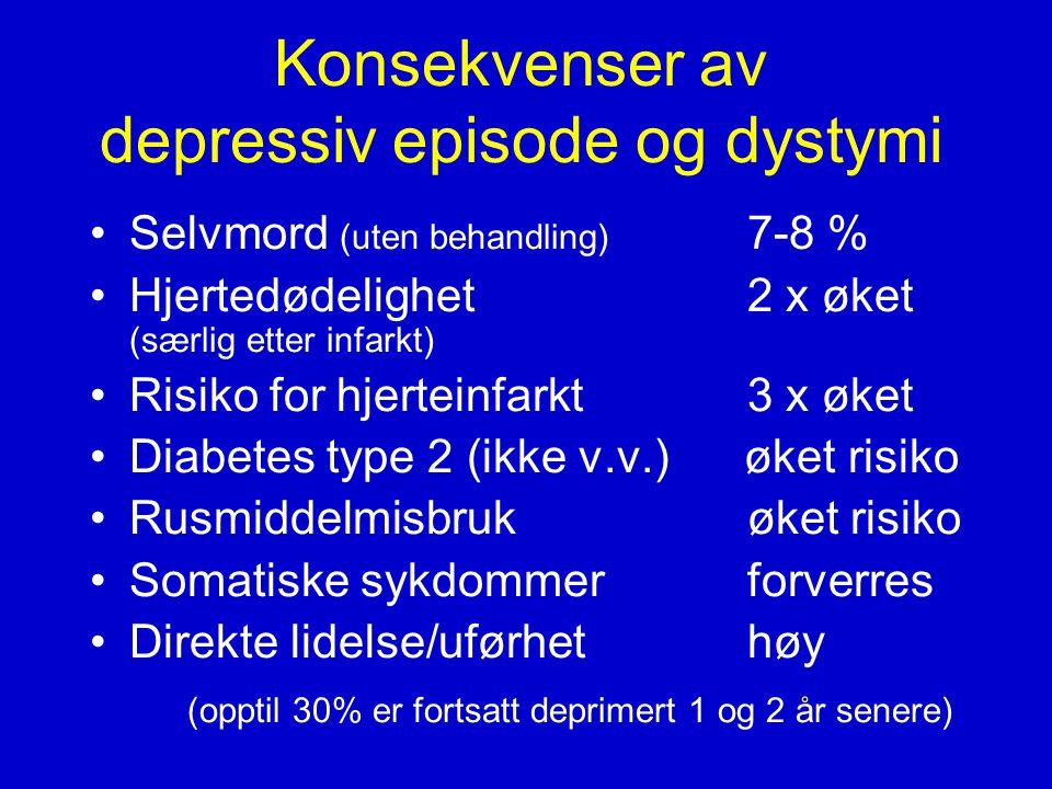 Konsekvenser av depressiv episode og dystymi