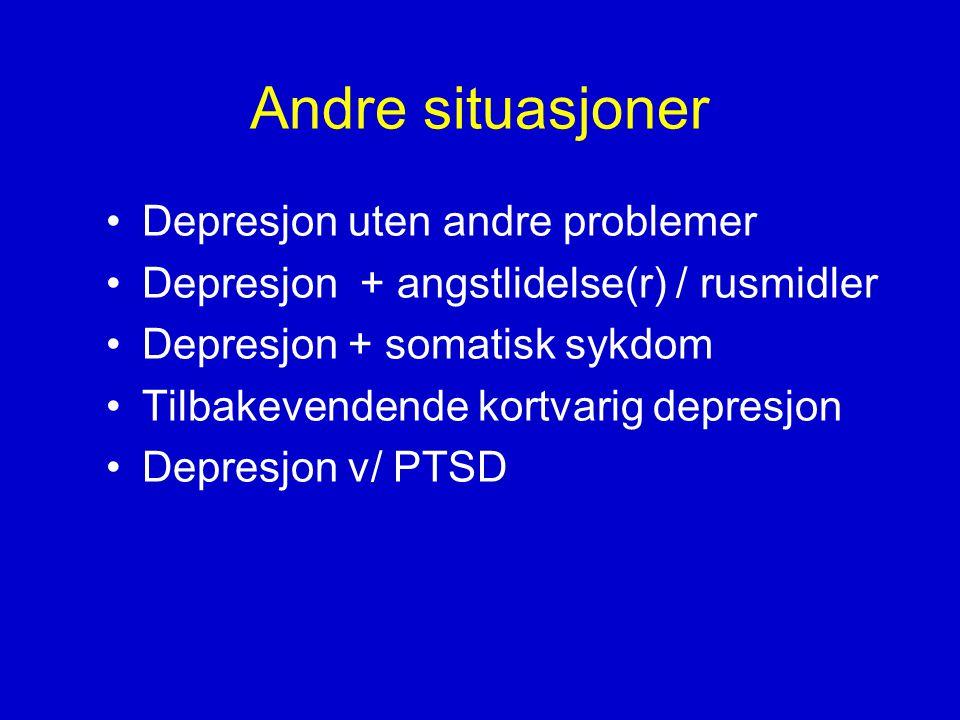Andre situasjoner Depresjon uten andre problemer