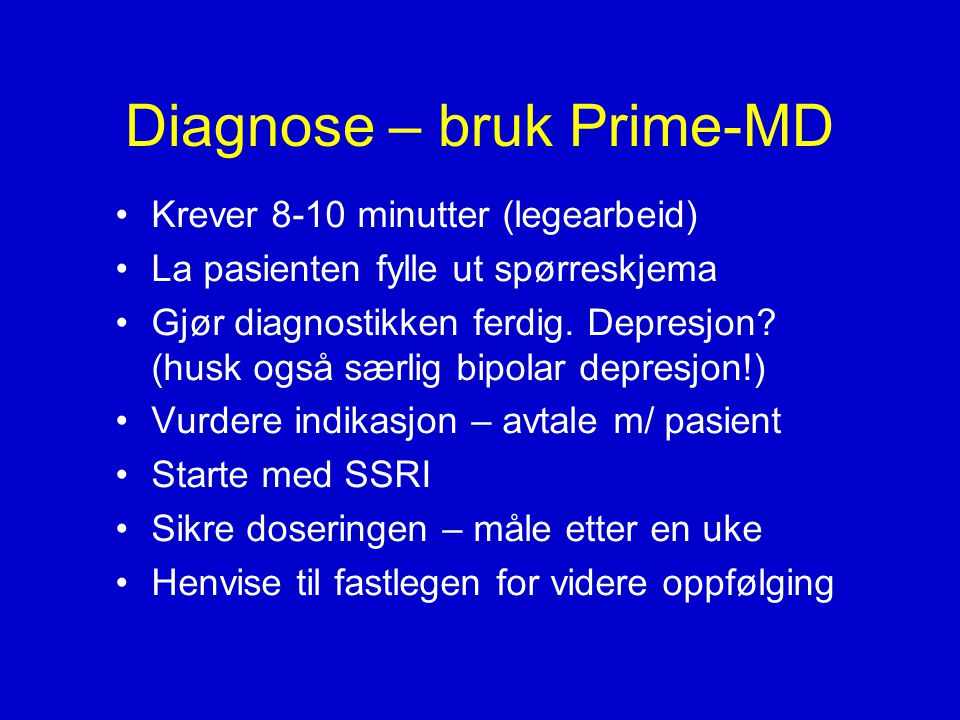 Diagnose – bruk Prime-MD