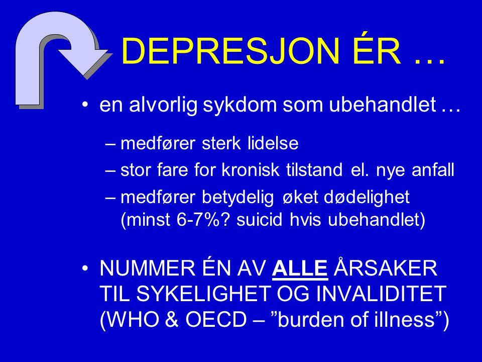 DEPRESJON ÉR … en alvorlig sykdom som ubehandlet …