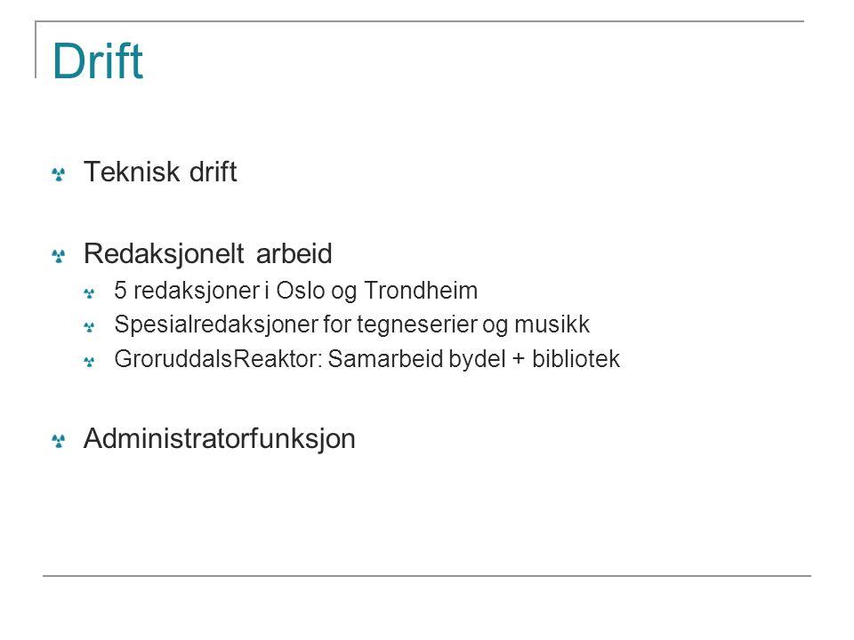 Drift Teknisk drift Redaksjonelt arbeid Administratorfunksjon