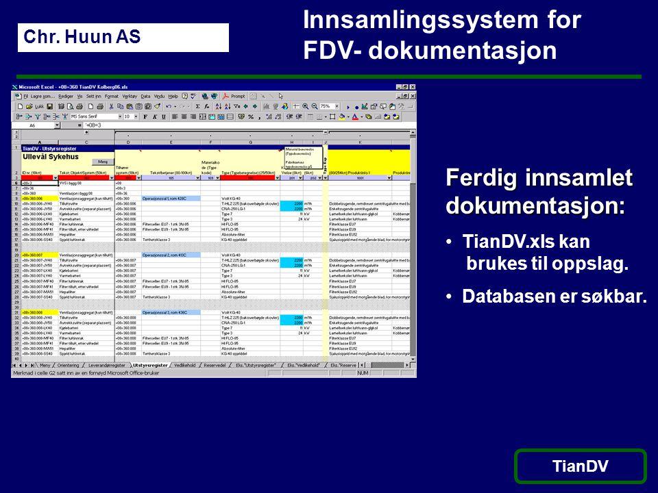 Innsamlingssystem for FDV- dokumentasjon