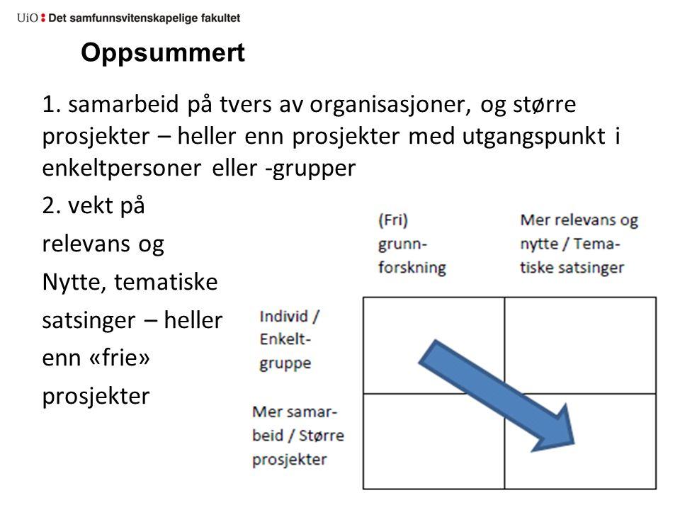 Oppsummert 1. samarbeid på tvers av organisasjoner, og større prosjekter – heller enn prosjekter med utgangspunkt i enkeltpersoner eller -grupper.