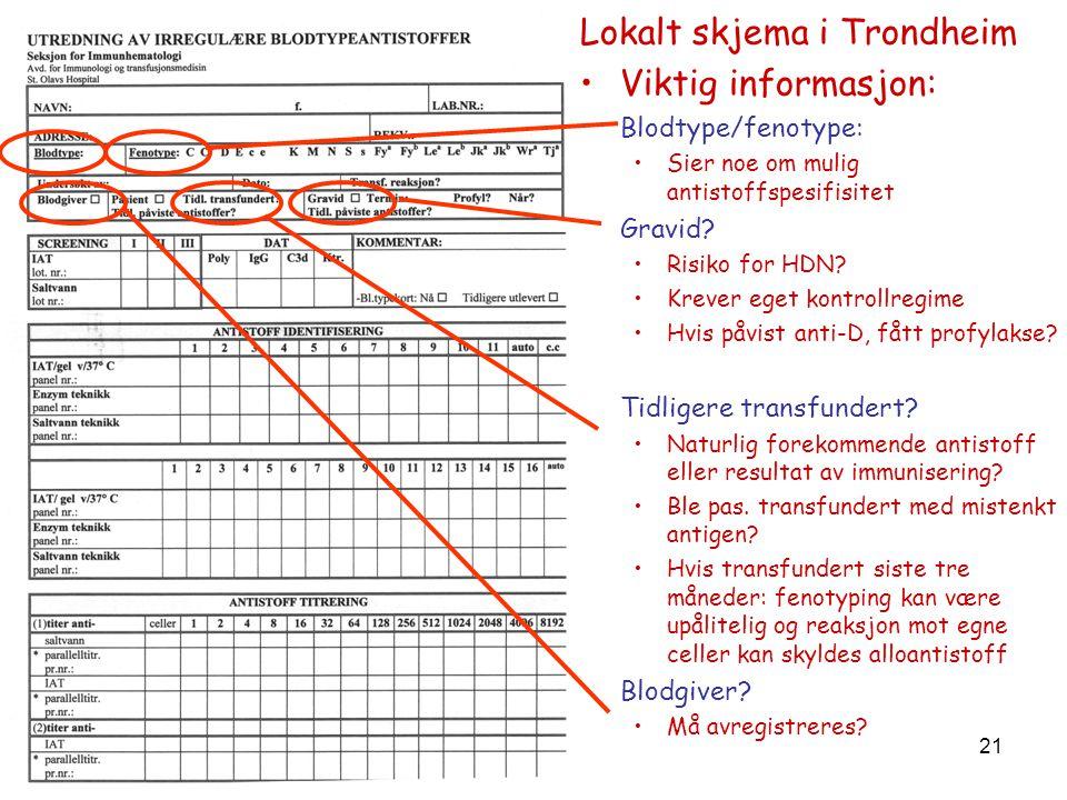 Lokalt skjema i Trondheim Viktig informasjon: