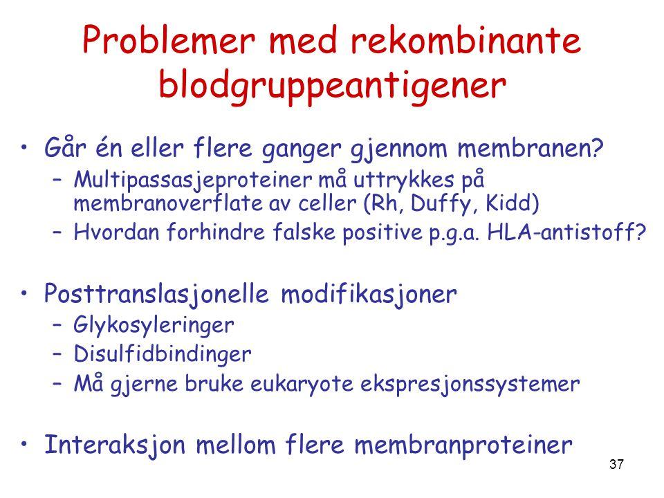 Problemer med rekombinante blodgruppeantigener