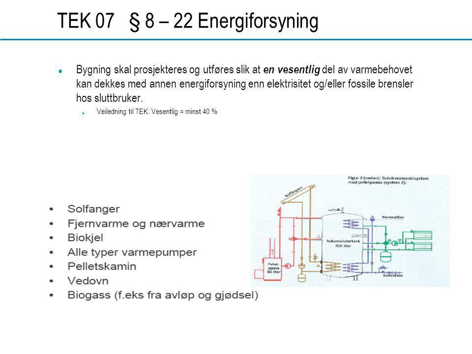 TEK 07 § 8 – 22 Energiforsyning