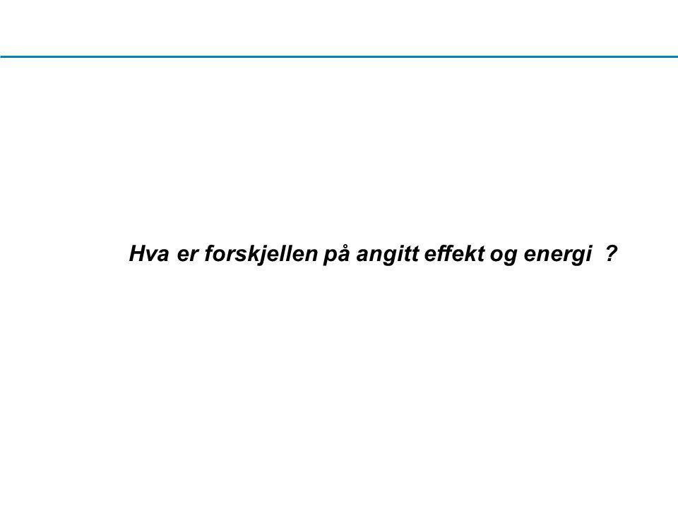 Hva er forskjellen på angitt effekt og energi