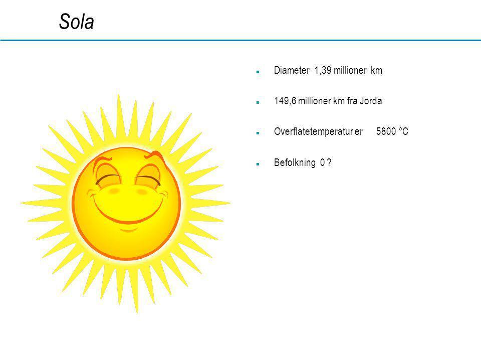 Sola Diameter 1,39 millioner km 149,6 millioner km fra Jorda